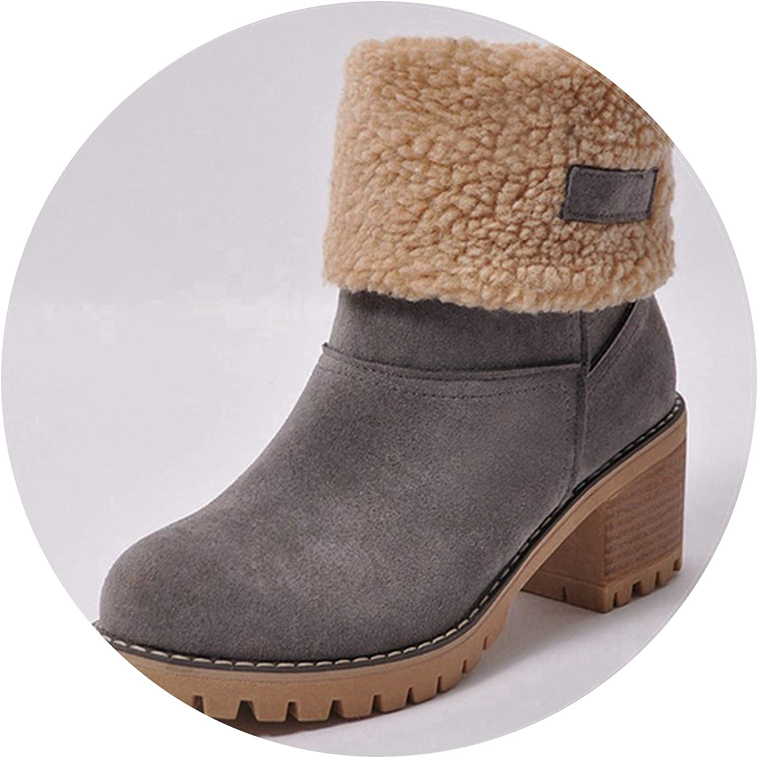 Pretty-sexy-toys Women Boots Female Winter shoes Woman Fur Warm Snow Boots Square Heels Bota Feminina Ankle Boots women,Grey,12