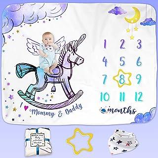 Bonsai Tree Baby Monthly Milestone Blanket, Magic Milestone Blanket for Boy, Monthly Photo Blanket for Newborn, Fleece Pho...