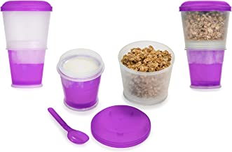 Cereal On the Go Cups Breakfast Drink Cups Portable Yogurt and Cereal To-Go Container Cup - Purple