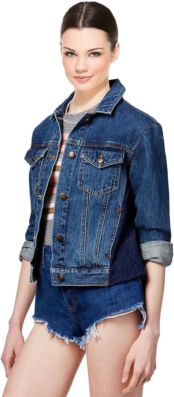 Free People Women's Lace Panel Denim Jacket, Dark Demin, Large