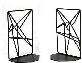 Sujetalibros con formas geométricas | Organizador de estantería | Sujetalibros metálico | Organizador de estantería antideslizante | Adecuado para libros, DVD, CD | M&W (Negro)