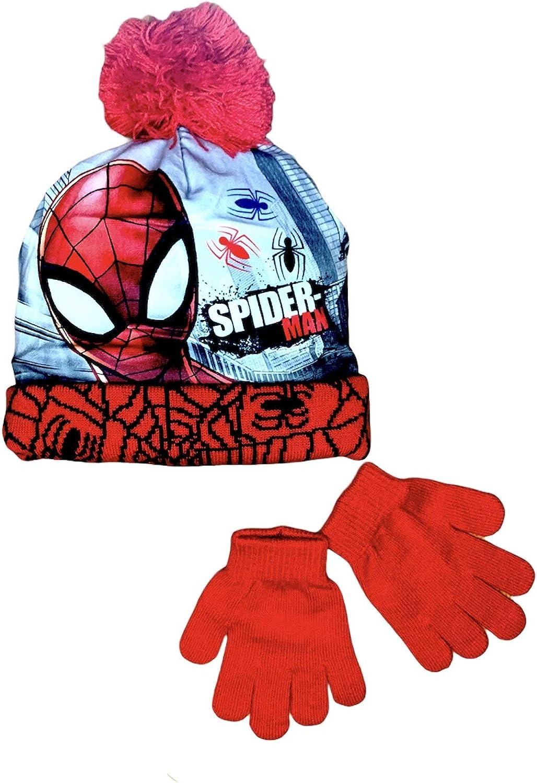 Coordinato Cappello E Guanti Spiderman Marvel Avengers Set Invernale Bambino