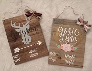 MarthaFox Deer Antler Hospital Door Hanger Baby Announcement Board Wood Nursery Art