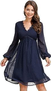Women's V Neck Long Sleeve Swiss Dot Bridesmaid Dress A-Line Mini Dress