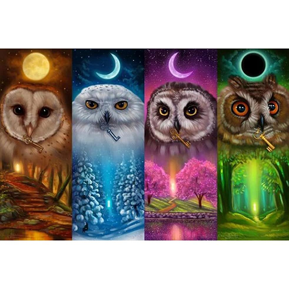 COCODE DIY 5D Diamond Painting by Number Kit, Crystal Rhinestone Full Drill Four Season Owl Embroidery Cross Stitch Arts Craft Canvas for Home Wall Decoration, 18 x 14 inch