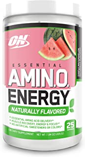 OPTIMUM NUTRITION Naturally Flavored Essential Amino Energy, Simply Watermelon, Preworkout and Essential Amino Acids with ...