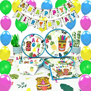 WERNNSAI Hawaiian Aloha Party Supplies Set - Luau Tropical Tiki Summer Pool Birthday Party Decorations Birthday Banner Balloons Cutlery Bag Table Cover Plates Cups Napkins Straws Utensils 16 Guests