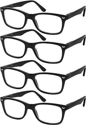 71f4937c0d3b Reading Glasses Set of 4 Black Quality Readers Spring Hinge Glasses for  Reading for Men and