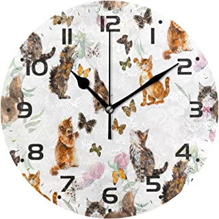 ZZKKO Kitten Cat Butterfly Wall Clock, Silent Non Ticking Battery Operated Easy to Read Decorative Wall Clock Kitchen Bedr...