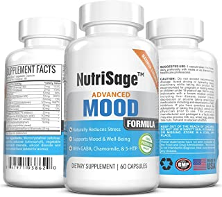 Premium Anxiety Relief & Natural Stress Support Herbal, Dietary Supplement – Supports Mood Enhancement, Calmness & Well Being – Contains Chamomile, GABA & 5-HTP - Made in USA - 60 Capsules