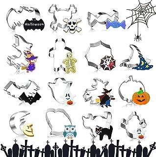 Emporte Piece Halloween, 15 Pièce Halloween Moule à Biscuit Acier Inoxydable Cookie Cutter Cookie Cutter Halloween Citroui...