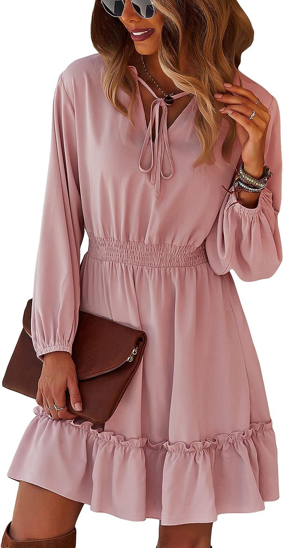 CinShein Womens Casual Dress Long Sleeve V-Neck Short Plain Dress Summer Ruffle Elastic Waist Flowy Swing Dresses