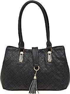 ESBEDA Black Checkered Pu Synthetic Material Handbag For Women