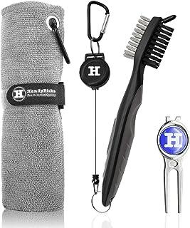 "Handy Picks Microfiber Golf Towel (16"" X 16"") with Carabiner, Club Brush, Golf Divot Repair Tool with Ball Marker - Golf A..."