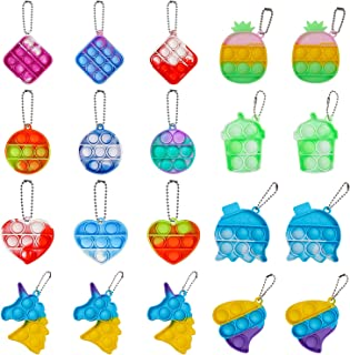 BINGLALA 20 عدد اسباب بازی ساده فیجت پاپ اسباب بازی Fidget Mini Stress Relief Hand Toys Keychain Toy Push Pop Pub Bubble Wrap Pop اضطراب استرس رفع کننده اسباب بازی دفتر کار برای کودکان بزرگسال (20 عدد)