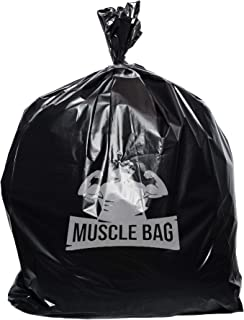 Muscle Bag Trash Bags, 40 to 45 Gallon (50 Count, Easy Dispensing Top) 3 Layers of Flexible, Puncture Resistant Plastic, Premium Can Liners, Leak Proof, 1.5Mil Garbage Bags