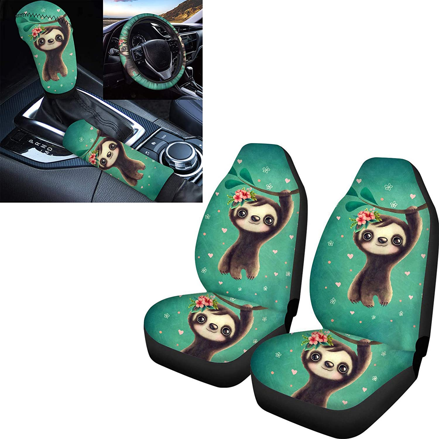 PZZ Max 44% Limited Special Price OFF BEACH Cute Baby Sloth Floral Covers Seat Buc Print Car Front