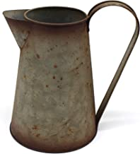 CVHOMEDECO. 7 Inch Galvanized Metal Milk Pitcher, Old Rustic Primitive Watering Can Jug Vase for Home and Garden Décor.