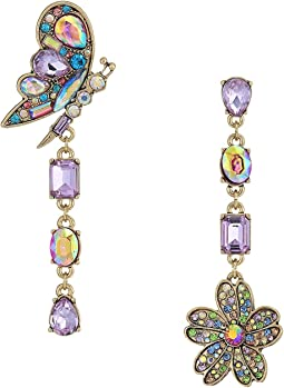Betsey Johnson - Blooming Butterfly and Flower Non-Matching Earrings