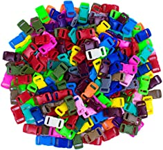 Craft County 100 or 200 Piece 3/8 Inch Contoured Side Release Plastic Buckles (Solid Mix, 200 Pack)