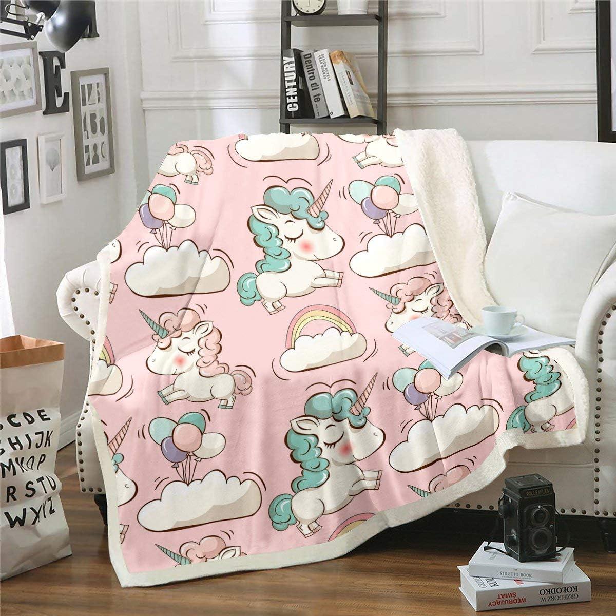 Feelyou Pink Purchase Unicorn service Fleece Throw Blanket Kids for Girls Toddler