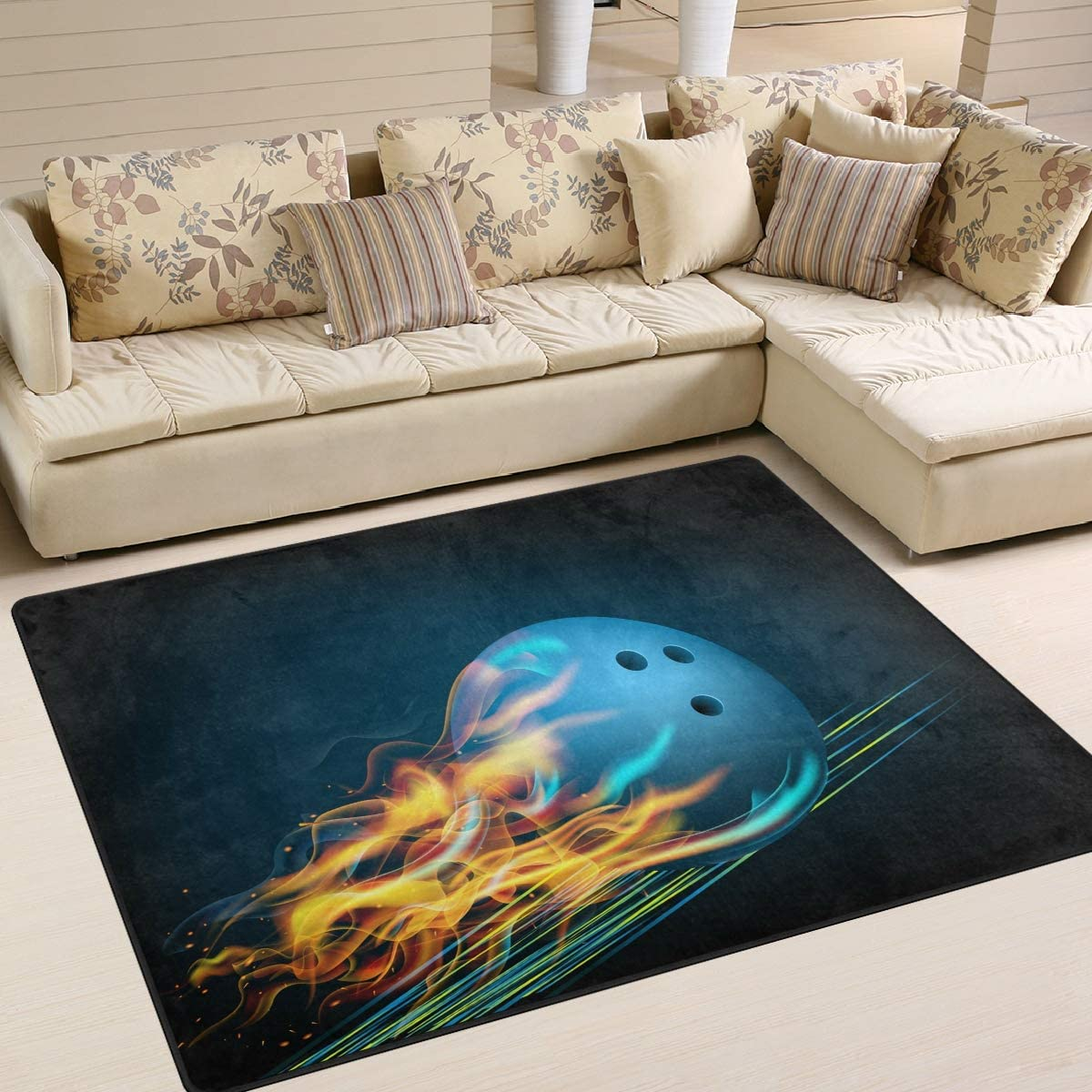 ALAZA Blue Bowling Ball Max 70% OFF Flames Area Rugs Tucson Mall for Rug Room Bed Living