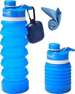 OnjoZ Collapsible Water Bottle 25oz - BPA Free FDA Approved Silicone Leak Proof Portable Travel Foldable Water Bottle with Quick Dry Microfiber Towel
