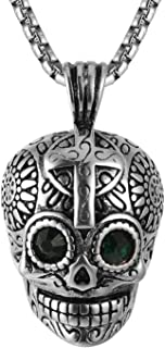AsAlways Biker Cool Skull Pendant Emerald Eyes Stainless Steel Day of The Dead Gothic Cross Jewelry