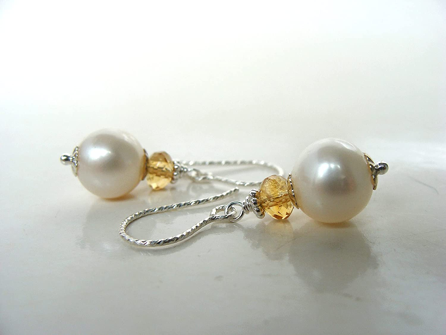Dainty citrine and pearl Max 68% OFF Great interest earrings white yellow small pear 9mm
