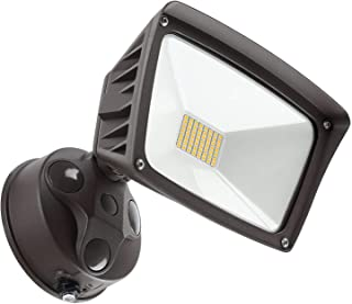 LEONLITE Dusk-to-Dawn LED Outdoor Flood Light with Photocell, 3400lm Ultra-Bright Waterproof Security Floodlight, 28W (220W Eqv.), DLC & ETL-Listed Exterior Lighting for Yard Porch, 3000K Warm White
