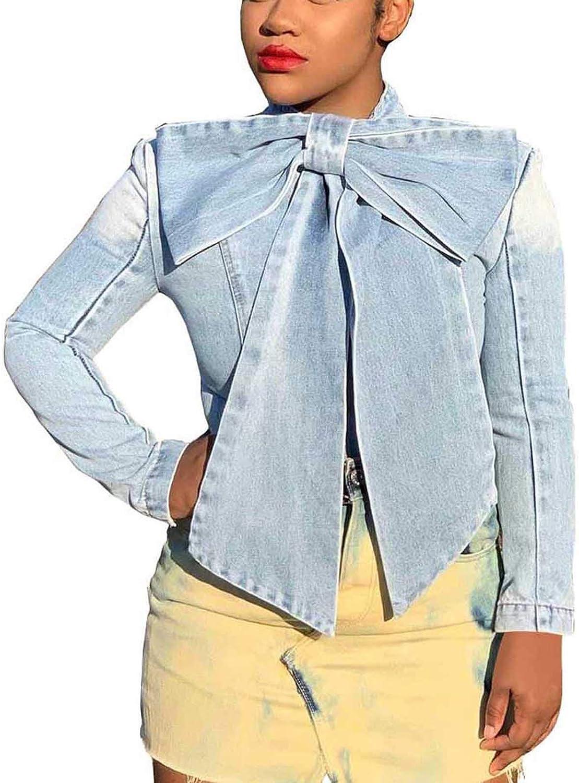 Denim Jacket for Women Distressed Butterfly Denim Long Sleeve Jean Jackets Coat