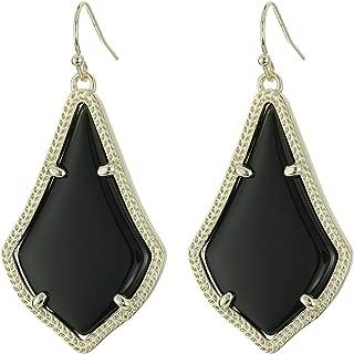 Gold Black Opaque Glass Alex Teardrop Dangle Earring Jewelry