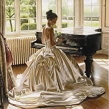 DIY 5D Diamond Painting by Number Kits, Crystal Rhinestone Diamond Embroidery Paintings Pictures Arts Craft for Home Wall Decor,Charming Lady Playing the Piano 16x24 Inch