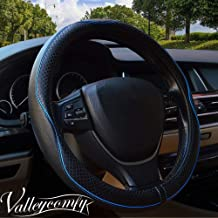 Valleycomfy 15.75 inch Auto Car Steering Wheel Covers Black with Blue Lines- Genuine Leather for F-150 Tundra Range Rover