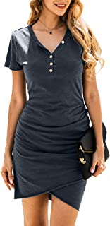 BTFBM Women's 2019 Casual Crew Neck Ruched Stretchy Bodycon T Shirt Short Mini Dress