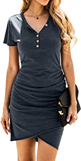 Women's 2020 Casual V Neck Short Sleeve Ruched Bodycon T Shirt Short Mini Dresses with Faux Button