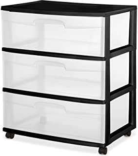 3 Drawer Wide Cart Black Storage Plastic