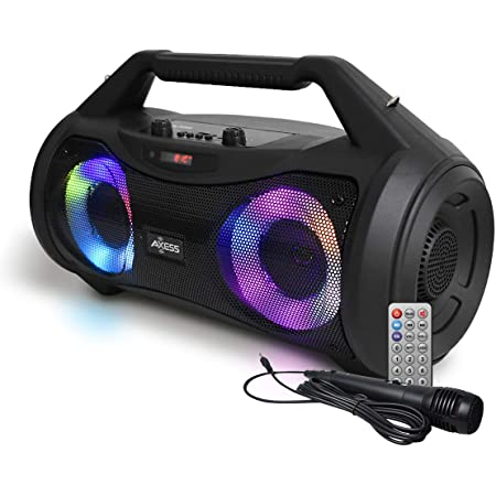 Axess Portable Bluetooth Boombox Speaker MPBT6507 25 watt RMS Power - Portable Media Speaker with Subwoofer, Stereo Sound, TWS Feature - USB, TF Card, 3.5MM AUX Outputs - FM and Microphone Input
