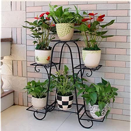 Kundi 6 Tier Plant Stands for Indoors and Outdoors, Flower Pot Holder Shelf for Multi Plants, Black Metal Plant Stand for Patio L-32 x W-10 x H-29 inches (Black)