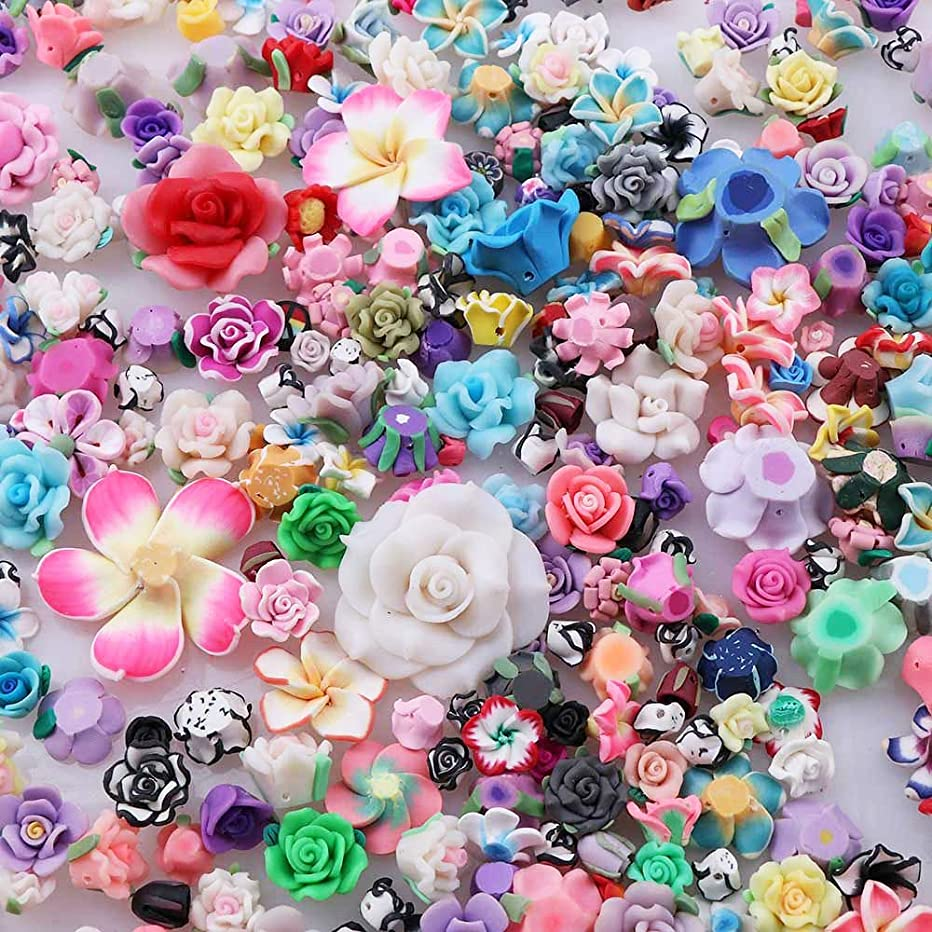 Slime Charms 50 PCS, Polymer Clay Rose, Beads for Jewelry Making Accessories Oven Bake Clay Flower, A Variety of Sizes Hybrid Modeling Clay Rose Jewelry, DIY Accessories, YWLI (Multiple Colors)