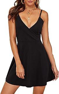 Women's V Neck Adjustable Spaghetti Straps Sleeveless Sexy Backless Dress