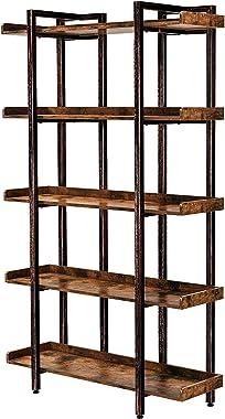 Rolanstar Bookshelf Bookcase, 5-Tier 6 Foot Etagere Bookshelf, Metal and Wood Industrial Bookshelf, Free Standing Open Storag