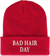 Trendy Apparel Shop Bad Hair Day Embroidered Ribbed Cuffed Knit Beanie