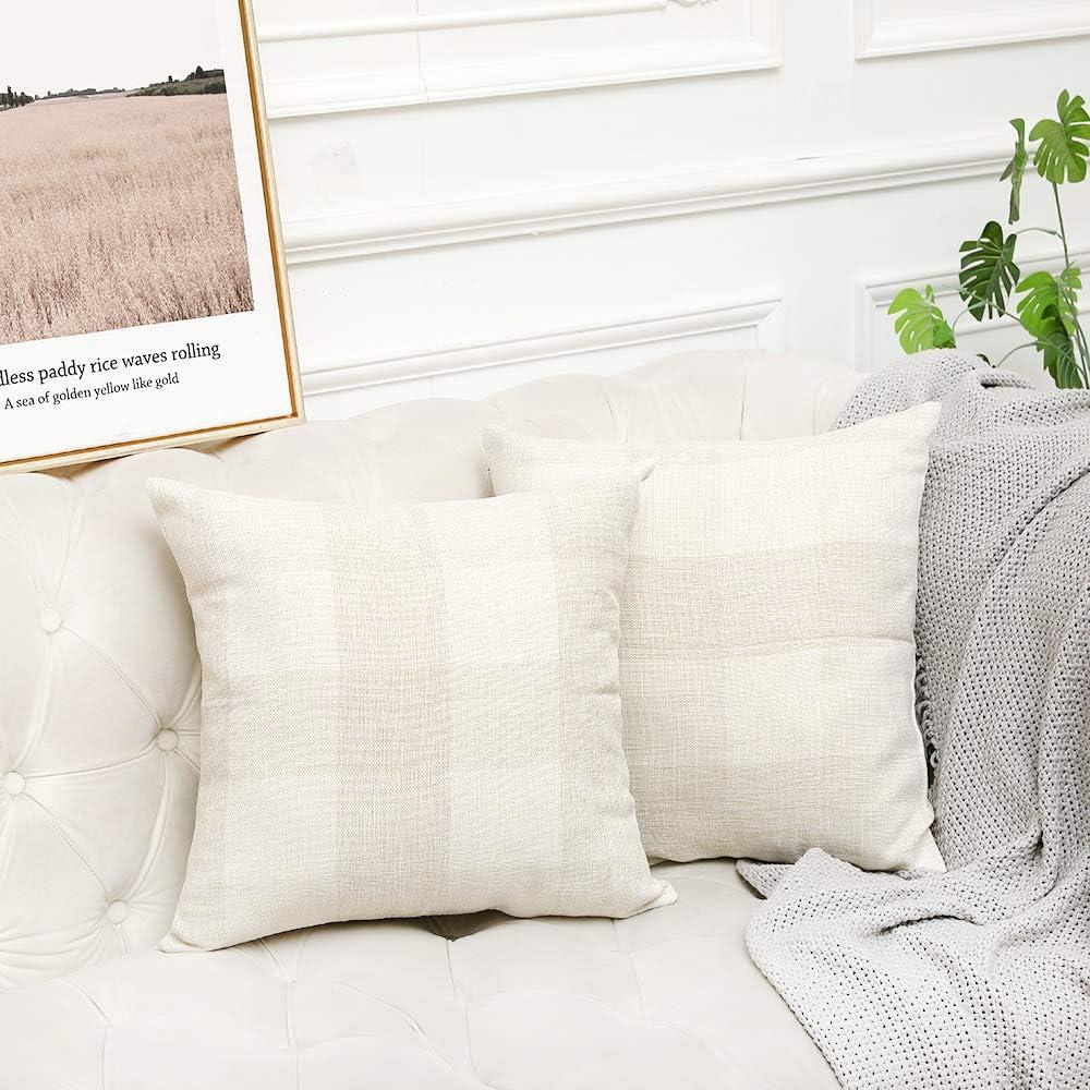 quality assurance Vinvi Set of 2 Retro Cotton Decorative 1 year warranty Outdoor Linen B Farmhouse