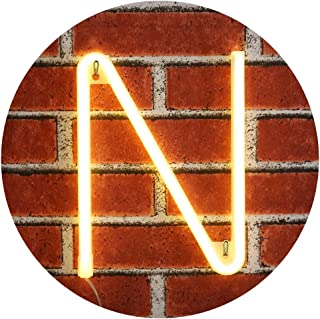 Obrecis Light Up LED Neon Letter Sign Wall Decorative Neon Lights Warm White Alphabet Marquee Letter Lights for Birthday Wedding Party Decor - N