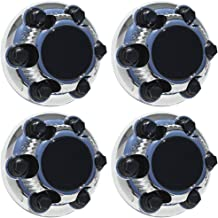Wheel Center Caps 6 Lugs (Set of 4) Best for 16 & 17 Inch Van & Truck Rim Wheels Chevy Chevrolet Silverado Suburban Avalanche GM GMC Sierra Yukon 1500 2500 3500 HD - Chrome Black Replacement Hub Cover