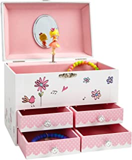 JewelKeeper Birds and Flowers Large Musical Jewelry Storage Box with 4 Pullout Drawers, Girl's Jewel Box, Waltz of The Flowers Tune