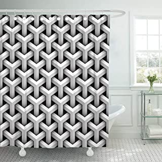 LongTrade Cortina de baño Shower Curtain Shower Curtain Optical of Gray Blocks Patern Pattern Cube Net Abstract Waterproof Polyester Fabric Set with Hooks 60