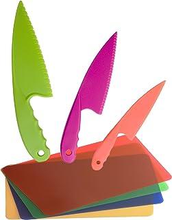 comprar comparacion GarMills Set de Cuchillos para Niños, 3 Unidades en 3 Colores, para Niños, Cuchillos de Cocina Seguros de Nailon, con Tabl...