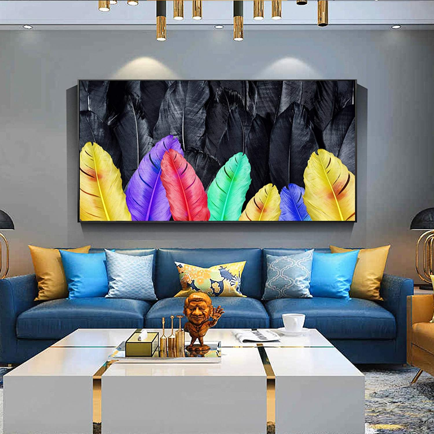 Wall Same day shipping Art Canvas Prints Abstract Outlet ☆ Free Shipping Colorful Feathers Posters Modern